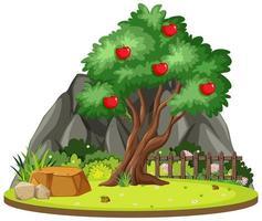 isolerat äppelträd i naturen vektor