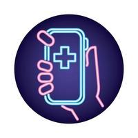 smartphone med telemedicinsk applikation neon stil