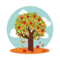 träd med äpplen på hösten