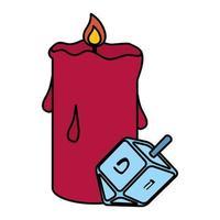 glückliche Chanukka-Pirinola mit Kerzenvektorillustrationsentwurf