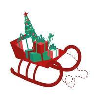 Santa Schlitten mit Kiefer und Geschenken
