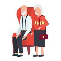 mormor och farfar sitter på stol