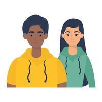 unga interracial par avatarer karaktärer vektor