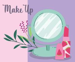 Make-up Kosmetik Produkt Mode Schönheitsspiegel und Lippenstift Cartoon vektor