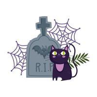 Happy Halloween, schwarzer Katzenfriedhof Grabstein Spinnennetz Trick or Treat Party Feier vektor