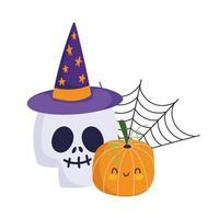 Happy Halloween, Schädel mit Hut Kürbis und Spinnennetz, Süßes oder Saures Party Feier vektor