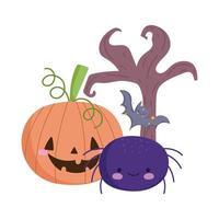 Happy Halloween, lustige Kürbis-Spinnenfledermaus und trockener Baum, Süßes oder Saures-Party-Feier vektor