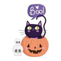 Happy Halloween, Schädel schwarze Katze in Kürbis, Süßes oder Saures Party Feier vektor