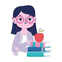 glücklicher Lehrertag, niedlicher Lehrerapfel auf Buchkarikatur vektor