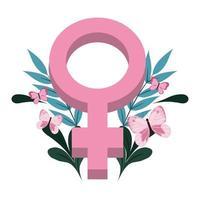 Brustkrebs-Bewusstsein weibliches Geschlecht Schmetterlinge Blumendekoration Design vektor