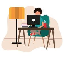zu Hause arbeiten, Mann mit Computerbüchern Kaffeetasse auf dem Tisch, Menschen zu Hause in Quarantäne vektor