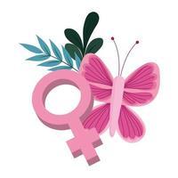 Brustkrebsbewusstsein unterstützen weibliches Geschlecht Schmetterling Blumenmuster vektor