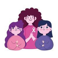 Brustkrebs-Bewusstseinsmonat, Gruppe weibliche junge Kampagne motivierend vektor