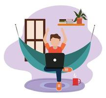 zu Hause arbeiten, junger Mann mit Laptop auf Hängematte im Zimmer, Menschen zu Hause in Quarantäne vektor
