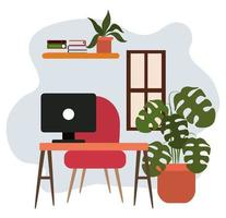 arbetsyta skrivbord dator stol krukväxt hylla och böcker vektor