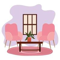 Wohnzimmer Stühle Tisch Topfpflanze und Fenster