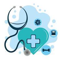 Tag der psychischen Gesundheit, grüne Herz Stethoskop Lösung Psychologie medizinische Behandlung vektor