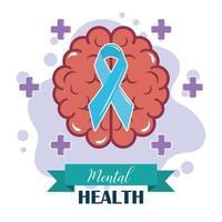 Tag der psychischen Gesundheit, Bewusstsein für das menschliche Gehirnband, psychologische Behandlung in der Psychologie vektor