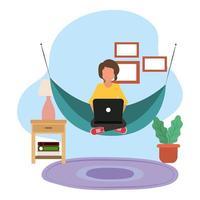 zu Hause arbeiten, Mann mit Laptop in Hängematte, Menschen zu Hause in Quarantäne vektor