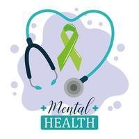 Tag der psychischen Gesundheit, Green Ribbon Stethoskop Psychologie medizinische Behandlung vektor