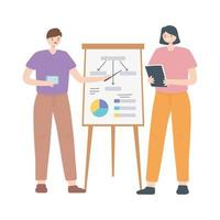coworking, affärsman och affärskvinna med rapporttavla presentation vektor
