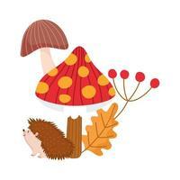 Hallo Herbst, Igel Pilz Blatt Zweig Cartoon