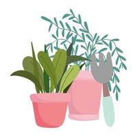 Gartenarbeit, Topfpflanzenblätter und Rechenwerkzeug vektor