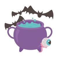 Happy Halloween gruselige Augen Kessel und Fledermäuse Dekoration vektor