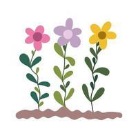 Gartenarbeit, Blumen, die im Boden isolierten Ikonenstil pflanzen vektor