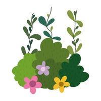 Büsche Blumen Laub Natur botanische isolierte Ikone vektor