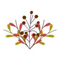 Naturlaubblätter und -beeren isolierten Ikonendesign vektor
