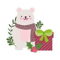 Frohe Weihnachten, niedlicher Bär mit Schal Geschenkbox und Holly Berry Feier, isoliertes Design