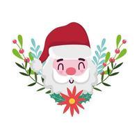 Frohe Weihnachten, Karikaturgesicht Santa Claus Blume und Stechpalmenbeere, isoliertes Design