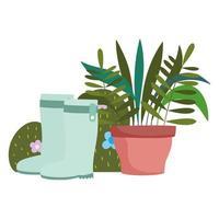 Gartenarbeit, Stiefel Topfpflanze Blumen und Busch Natur Vektor-Illustration vektor