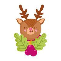 Frohe Weihnachten, Cartoon-Rentier mit Holly Berry, isoliertes Design