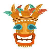 Tiki Stammes exotische Holzmaske lokalisiert auf weißem Hintergrund vektor