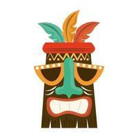 polynesische Holzmaske des Tiki-Stammes lokalisiert auf weißem Hintergrund vektor