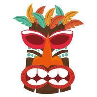 Tiki polynesische Stammes-Holzmaske lokalisiert auf weißem Hintergrund vektor