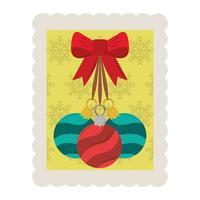 Frohe Weihnachten dekorative Kugeln mit Bogenstempelikone vektor
