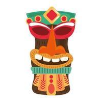 Tiki Stammes-Holzstatue lokalisiert auf weißem Hintergrund vektor