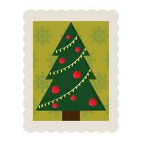 Frohe Weihnachten Kiefernkugeln Dekoration Stempel Symbol vektor
