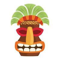 Tiki Stammes-Holz ethnische Maske lokalisiert auf weißem Hintergrund vektor