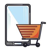 online shopping smartphone, ny normal efter coronavirus covid 19 vektor