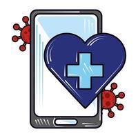 Smartphone medizinischen Dienst online, neue Normalität nach Coronavirus covid 19 vektor