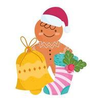 Frohe Weihnachten, Lebkuchenmann mit Glocken- und Sockenfeierikonenisolation vektor