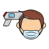 Maske tragen und Temperatur prüfen, neue Normalität nach Coronavirus covid 19 vektor