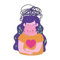 Welttag der psychischen Gesundheit, Frau, die an Depressionen leidet vektor