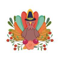 lycklig tacksägelsedag, kalkon med pilgrim hatt blomma frukter lövverk firande
