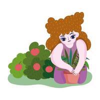 glücklicher Garten, Mädchen, das Pflanze in Topffruchtbuschnatur pflanzt vektor
