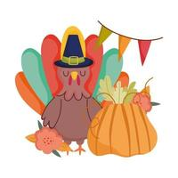 lycklig tacksägelsedag, kalkon med pilgrim hatt pumpa blomma vimplar firande